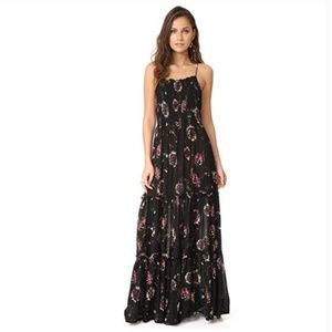 Free People Garden Party Floral Black Maxi Dress S
